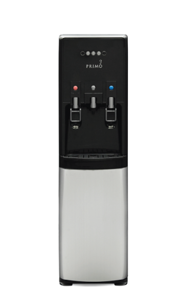 stainless steel and black dispenser