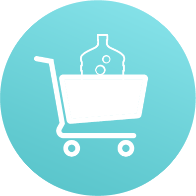 shopping cart with full water bottle icon teal