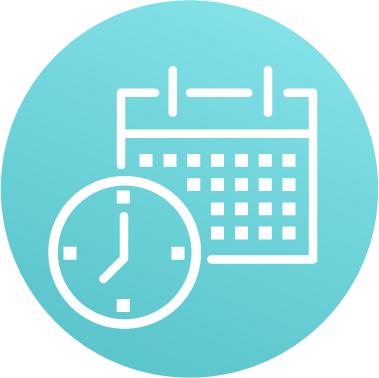 Schedule calendar and clock icon